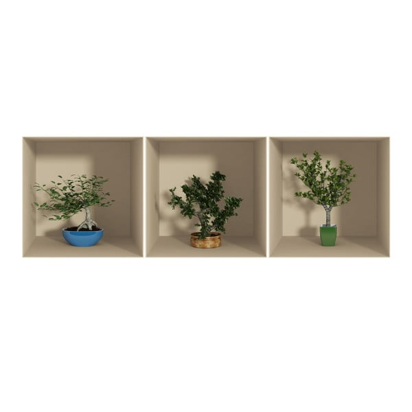 Set 3 autocolante cu efect 3D Ambiance Small Trees, 3 buc.