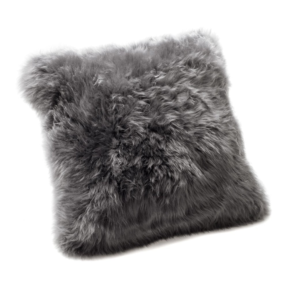 Šedý polštář Royal Dream Sheepskin, 30 x 30 cm