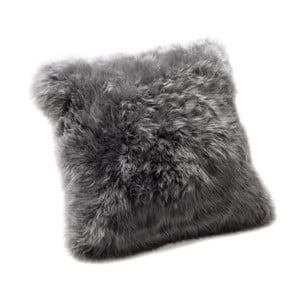 Pernă din blană de oaie Royal Dream Sheepskin, 45 x 45 cm, gri închis