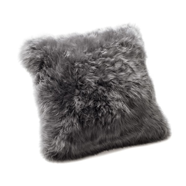 Pernă din blană de oaie Royal Dream Sheepskin, 30 x 30 cm, gri
