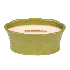 Lumânare parfumată în vas ceramic WoodWick, aromă de flori și fructe, 70 ore