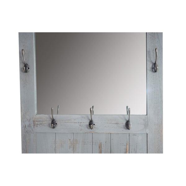 Dřevěný stojan s háčky a zrcadlem Mendler Shabby