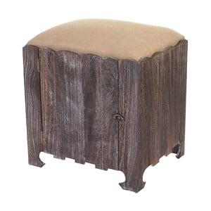 Hnědá dřevěná stolička s úložným prostorem Mendler Shabby Bray