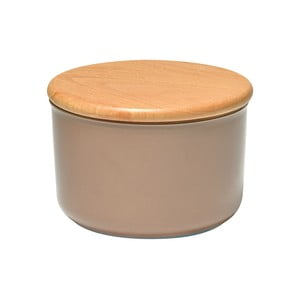 Béžová dóza s dřevěným víčkem Emile Henry, objem 0,5 l