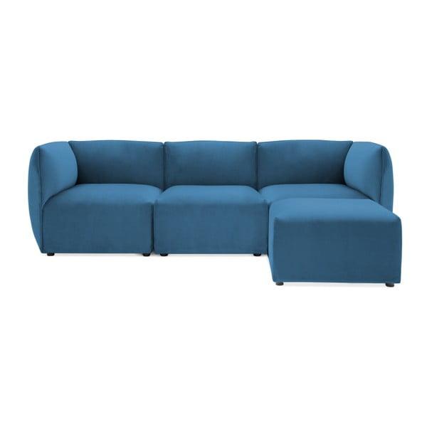 Modrá třímístná modulová pohovka s podnožkou Vivonita Velvet Cube