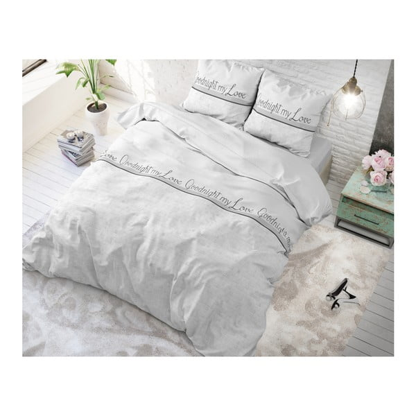 Světle šedé povlečení z mikroperkálu na dvoulůžko Sleeptime Goodnight my Love,240x220cm