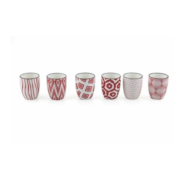 Set 6 pahare din ceramică Villa d´Este Confusion, roșu