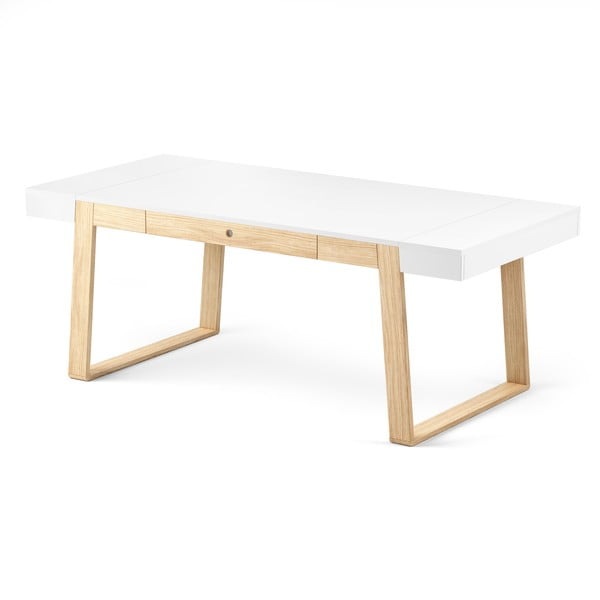 Stůl z dubového dřeva s bílou deskou a bílými detaily Absynth Magh, 198x100cm