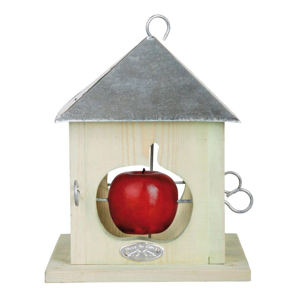 Bílé dřevěné krmítko pro ptáky se zinkovou střechou na 4 jablka Esschert Design, výška 23 cm
