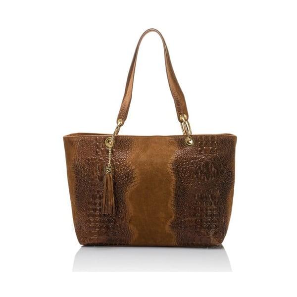 Hnědá kožená kabelka s třásní Massimo Castelli Crocco Suede