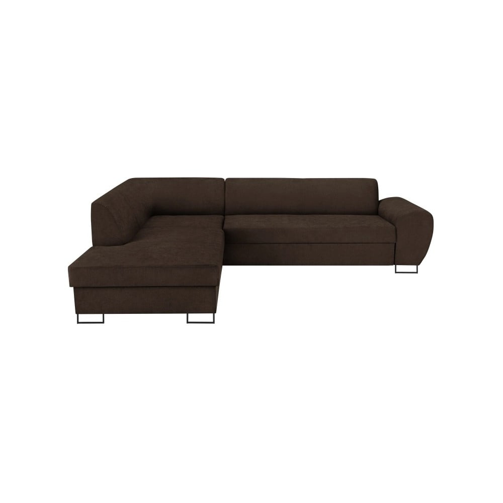 Tmavě hnědá rohová rozkládací pohovka s úložným prostorem Kooko Home XL Left Corner Sofa Puro