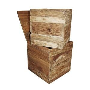 Sada 2 úložných boxů z teakového dřeva HSM Collection Rustic