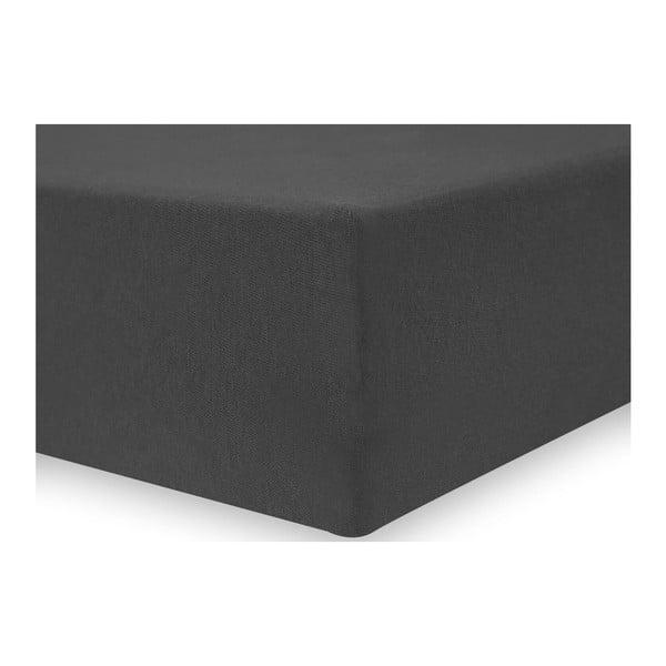 Tmavě šedé elastické bavlněné prostěradlo DecoKing Amber Collection, 100-120 x 200 cm