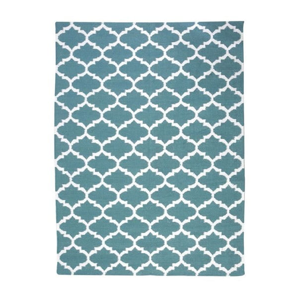 Vlněný koberec Geometry  Guilloche Petrol Green & White, 160x230 cm