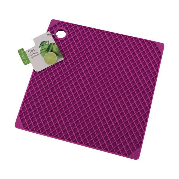 Silikonová podložka pod hrnce, růžová/fialová