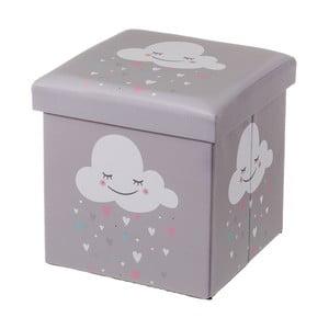 Šedý dětský puf s úložným prostorem Unimasa Cloud