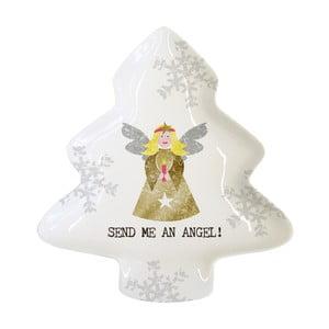 Dekorativní tác z kostního porcelánu s vánočním motivem PPD Send Me An Angel, 12,5 x 15 cm