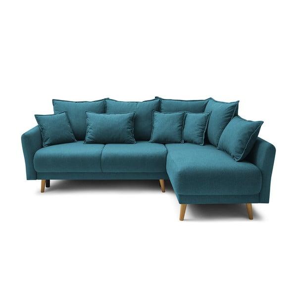Tyrkysově modrá rohová rozkládací pohovka Bobochic Paris Mia, pravý roh