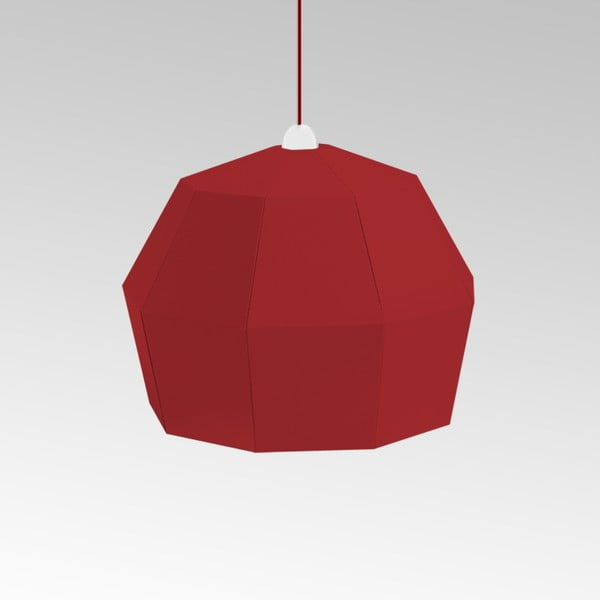 Kartonové svítidlo Uno Fantasia A Red, s červeným kabelem