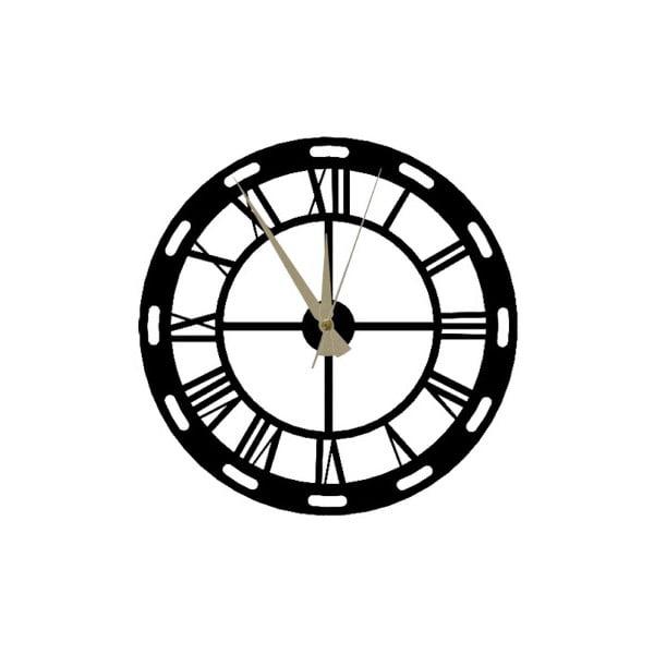 Černé nástěnné hodiny Roman Clock, 48 x 50 cm