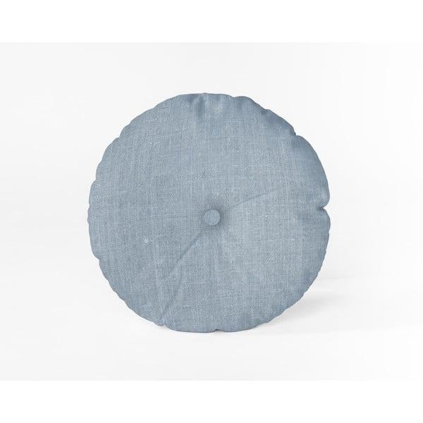 Světle modrý polštář Linen Couture Cojin Redondo Light Blue, ⌀ 45 cm