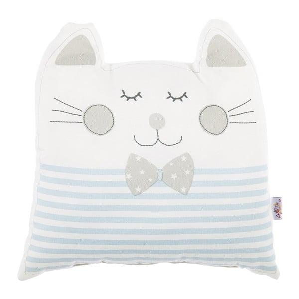 Pernă din amestec de bumbac pentru copii Apolena Pillow Toy Big Cat, 29 x 29 cm, albastru