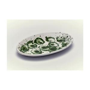 Zelenobílý smaltovaný servírovací talíř Kapka Floral Madness