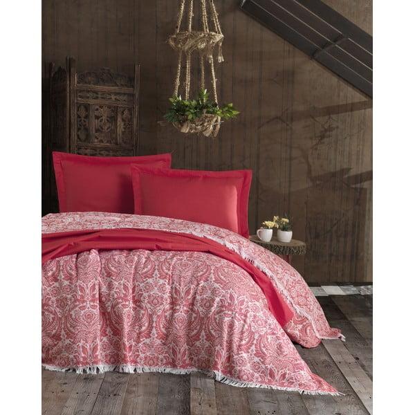 Nish Red piros pamut ágytakaró és 2 párnahuzat szett, 240 x 260 cm - EnLora Home