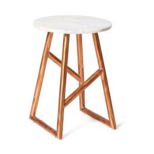Měděný odkládací stolek s mramorovou deskou Vivorum Helena