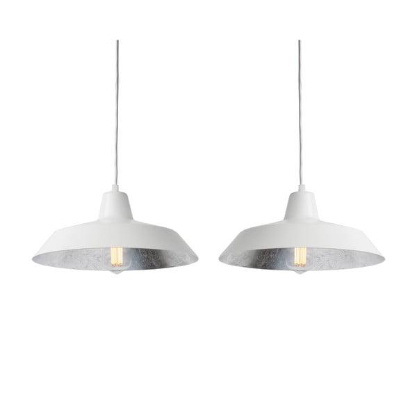 Lampa wisząca z 2 białymi kablami i kloszami w białym oraz w kolorze srebra Bulb Attack Cinco
