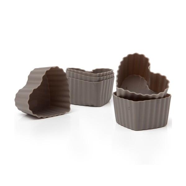 Sada 6 silikonových forem na muffiny Grey Hearts