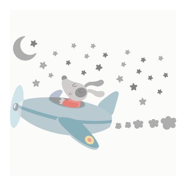 Sada nástěnných samolepek Airplane In Night Sky
