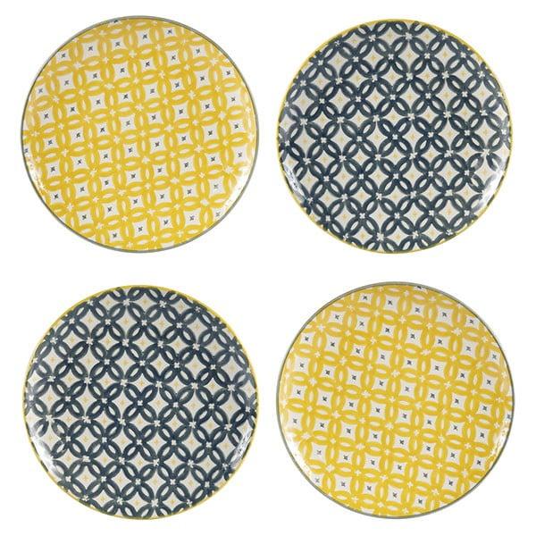 Sada 4 porcelánových talířů Flower, 20.5 cm