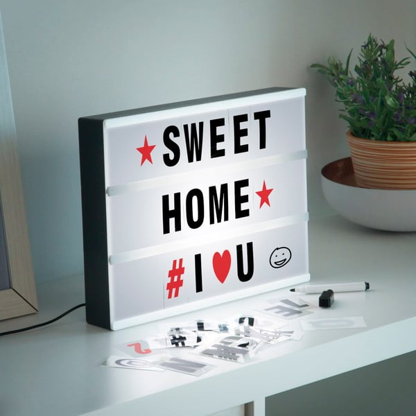 Cinema Box világító tábla, filccel és betűkkel - InnovaGoods