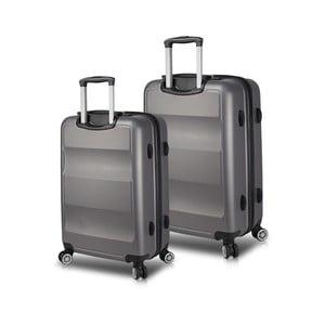 Sada 2 šedých cestovních kufrů na kolečkách s USB porty My Valice LASSO Cabin & Medium