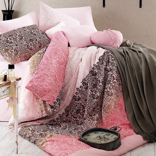 Povlečení s prostěradlem Damask Pink, 160x220 cm