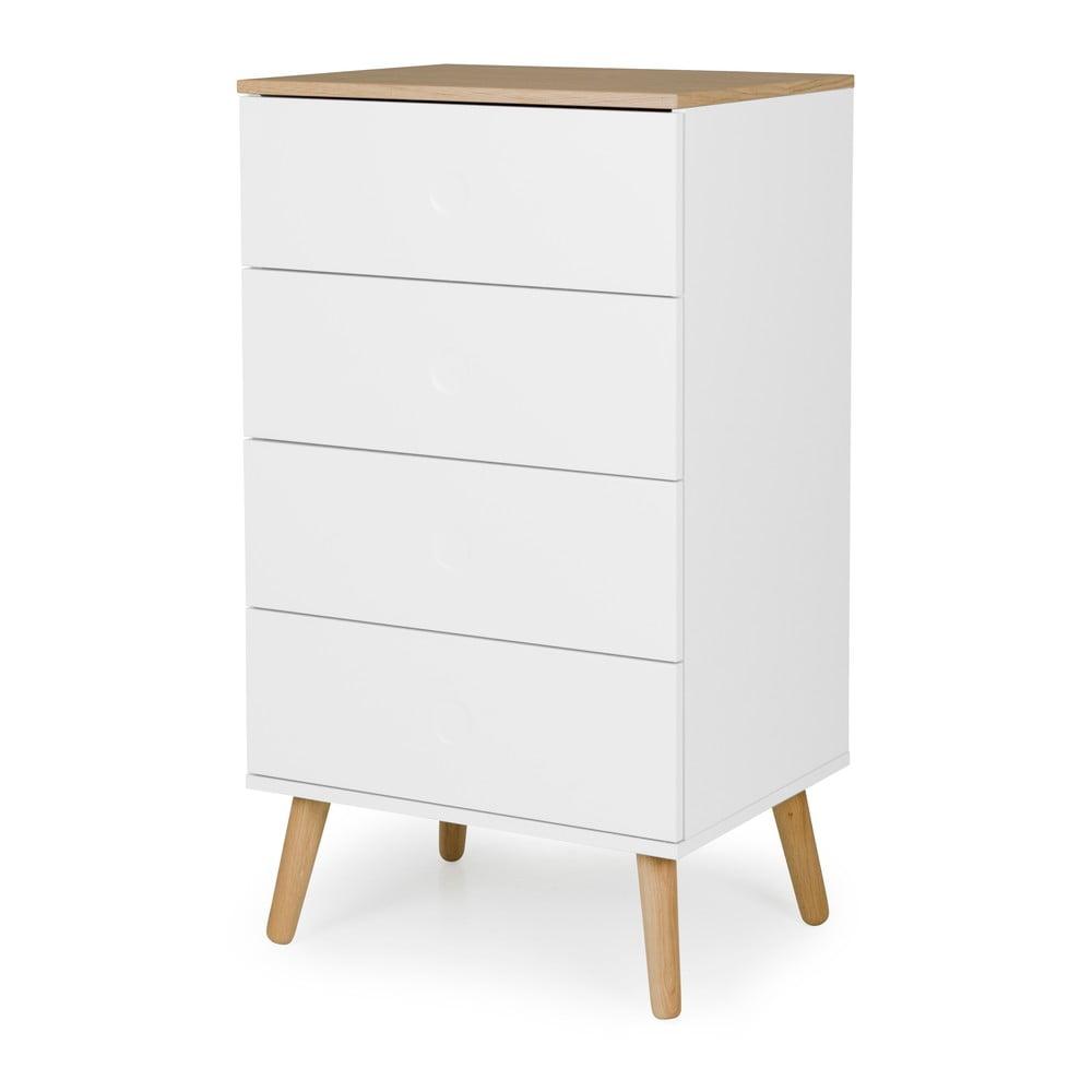 Bílá skříňka s detaily s nohami z dubového dřeva s 4 zásuvkami Tenzo Dot, šířka 55 cm