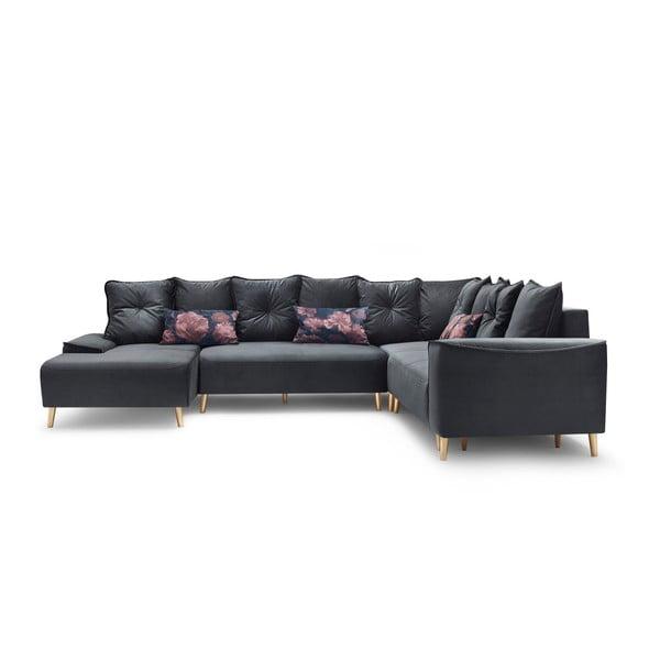 Canapea extensibilă, cu șezlong pe partea stângă Bobochic Paris Panoramique XXL Hera, gri