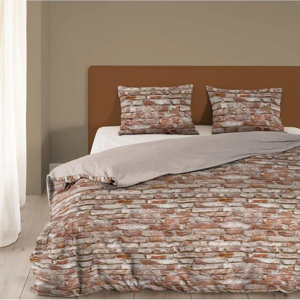 Hnědé povlečení z bavlny na dvoulůžko Good Morning Brick,200x200cm
