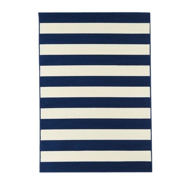 Modro-bílý venkovní koberec Floorita Stripes, 160 x 230 cm