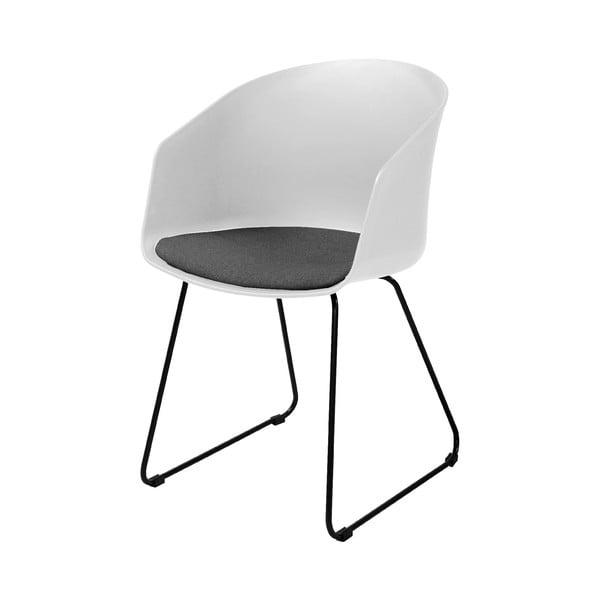 Bílá jídelní židle s černými nohami Interstil Moon 40