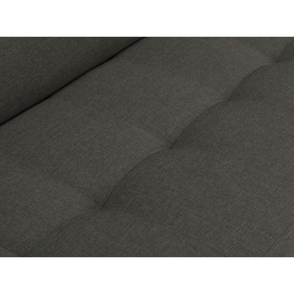 Canapea extensibilă pe colț cu picioarele de culoare neagră Cosmopolitan Orlando, pe partea stângă, gri închis
