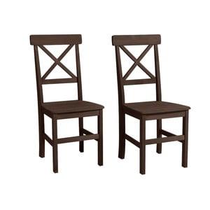 Sada 2 tmavě hnědých jídelních židlí z borovicového dřeva Støraa Nicoline