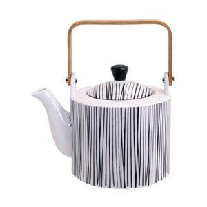 Černo-bílá konvička na čaj Tokyo Design Studio Nippon Lines, 1,3l