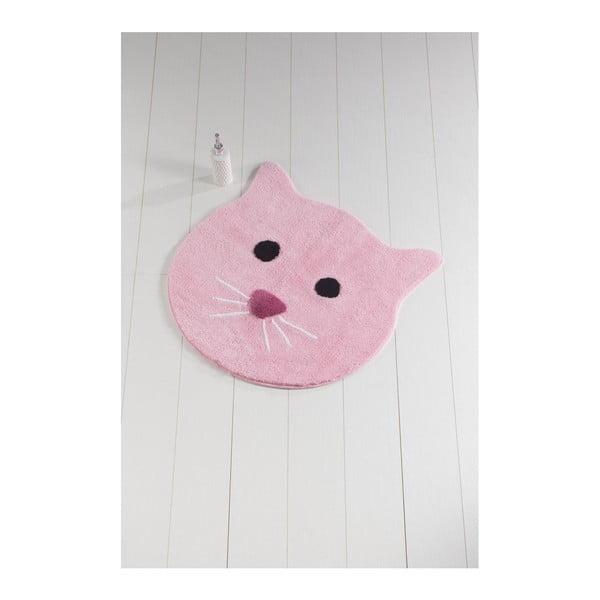 Covoraș de baie Cat, ⌀ 90 cm, roz