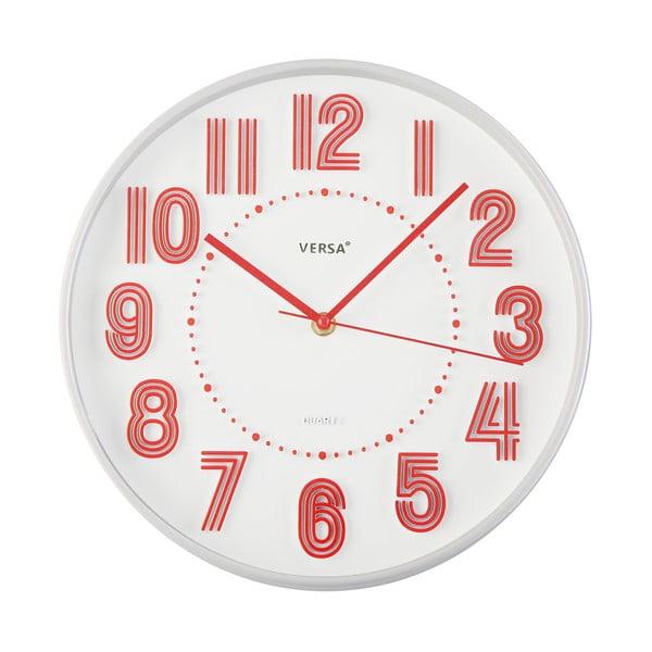 Červené nástěnné hodiny Versa Haily, ø30,5cm
