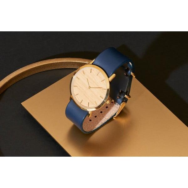 Dřevěné hodinky s modrým řemínkem Analog Watch Co. Classic