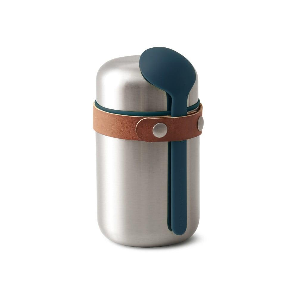 Modrá nerezová termoska na svačinu Black + Blum Flask, 400 ml