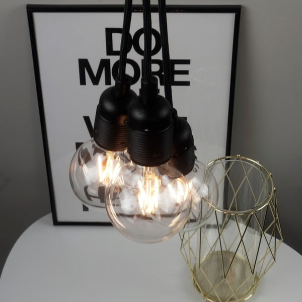 Černé závěsné svítidlo se 3 kabely Bulb Attack Uno Group