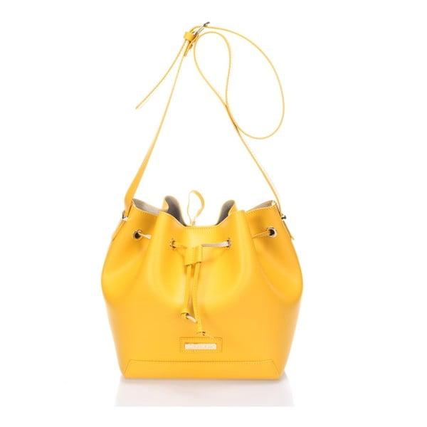 Kožená kabelka Krole Klara, žlutá